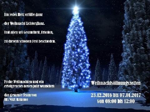 Weihnachtsöffnungszeiten!!!