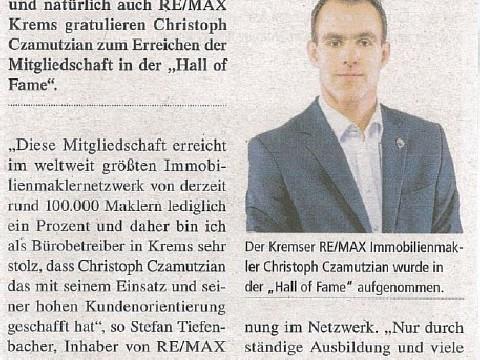 Hohe Auszeichnung für Christoph Czamutzian!, Datum: 12.08.2016