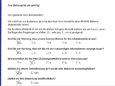 Leistungsbeurteilung - Fragebogen von Herrn Breitenecker, 14.10.2016