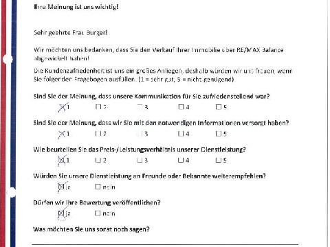 Leistungsbeurteilung - Fragebogen von Frau Burger, 27.09.2016