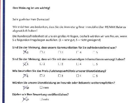 Leistungsbeurteilung - Fragebogen von Herrn Damacus, 22.11.2016