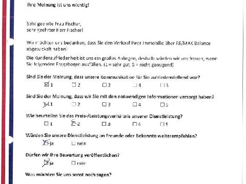 Leistungsbeurteilung - Fragebogen von Familie Fischer, 24.05.2016