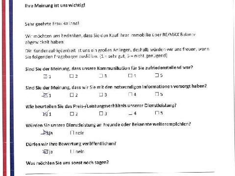 Leistungsbeurteilung - Fragebogen von Frau Hailand, 14.10.2016