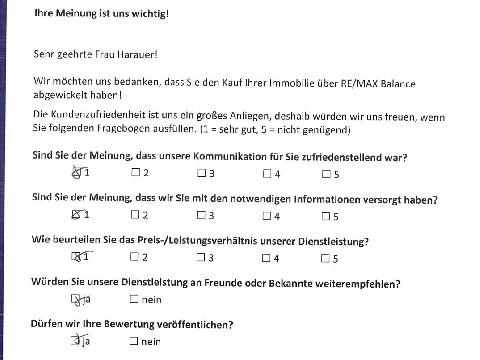 Leistungsbeurteilung - Fragebogen von Frau Harauer, 03.11.2016