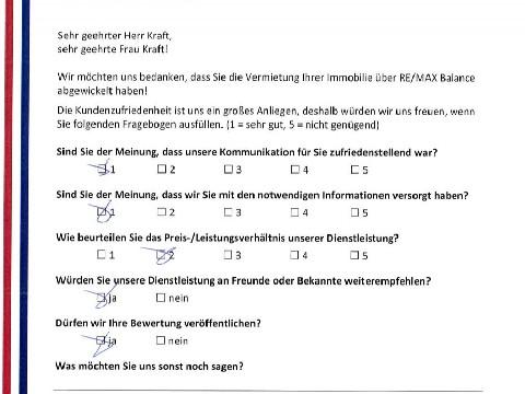 Leistungsbeurteilung - Fragebogen von Herrn und Frau Kraft, 22.05.2017