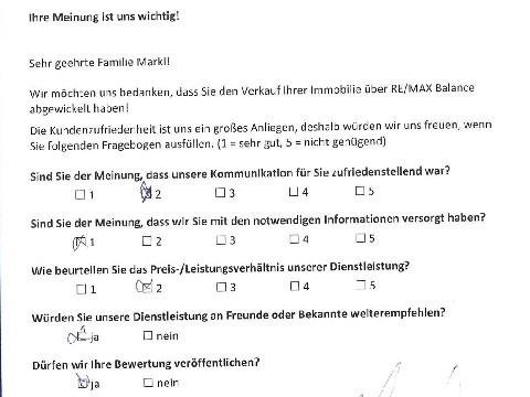 Leistungsbeurteilung - Fragebogen von Familie Markl, 03.11.2016