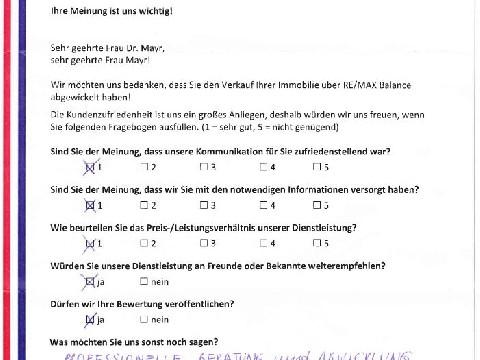 Leistungsbeurteilung - Fragebogen von Frau Dr. Mayr, 04.10.2016