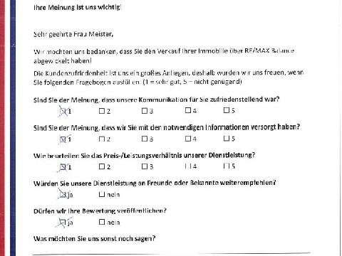 Leistungsbeurteilung - Fragebogen von Frau Meister, 17.05.2016