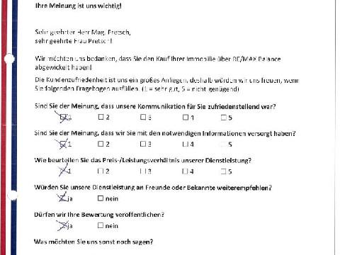 Leistungsbeurteilung - Fragebogen von Familie Pretsch, 27.09.2016