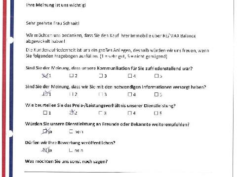 Leistungsbeurteilung - Fragebogen von Frau Schnait, 24.05.2016