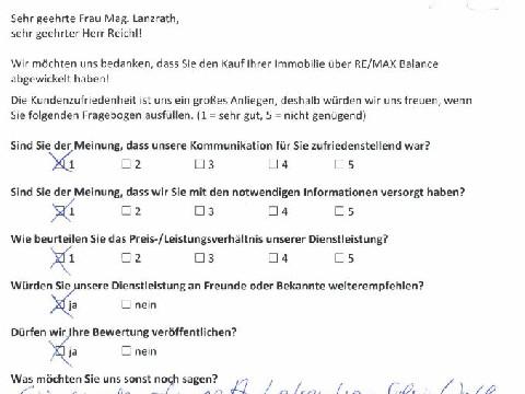 Leistungsbeurteilung - Fragebogen von Frau Mag. Lanzrath und Herrn Reichl, 24.07.2017