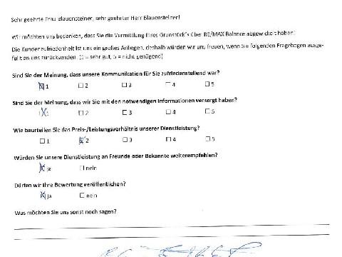 Leistungsbeurteilung - Fragebogen von Herr und Frau Blauensteiner, 31.03.2019
