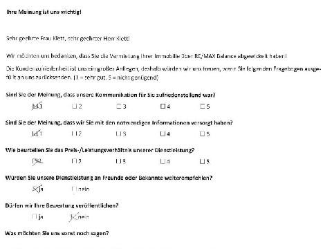 Leistungsbeurteilung - Fragebogen von Herr und Frau Klett, 26.02.2019