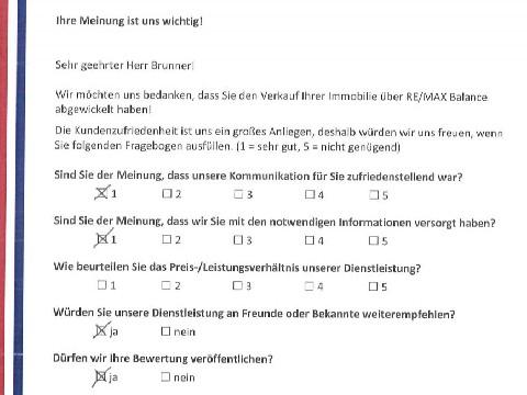Leistungsbeurteilung - Fragebogen von Herrn Brunner, 17.06.2016