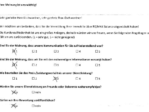 Leistungsbeurteilung - Fragebogen von Fam. Gschwantner, 28.05.2018