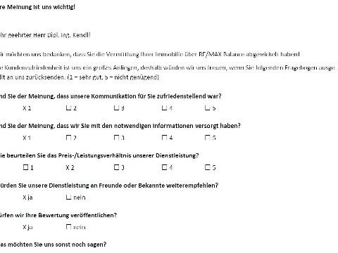 Leistungsbeurteilung - Fragebogen von Herrn Dipl. Ing. Kendl, 01.08.2018