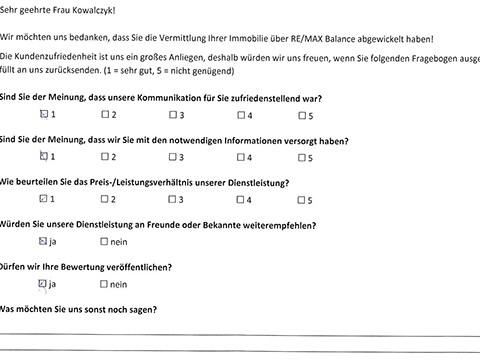 Leistungsbeurteilung - Fragebogen von Frau Kowalczyk, 10.01.2018