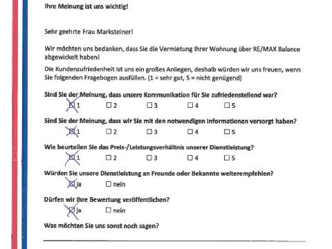 Leistungsbeurteilung - Fragebogen von Frau Marksteiner, 21.03.2017