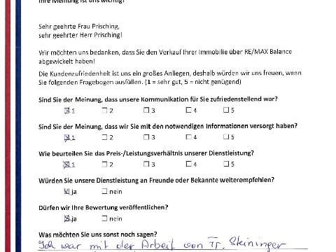 Leistungsbeurteilung - Fragebogen von Herrn und Frau Prisching, 07.09.2017
