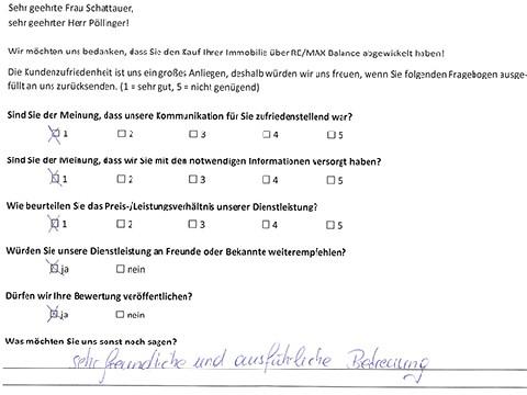 Leistungsbeurteilung - Fragebogen von Frau Schattauer und Herrn Pöllinger, 10.01.2018