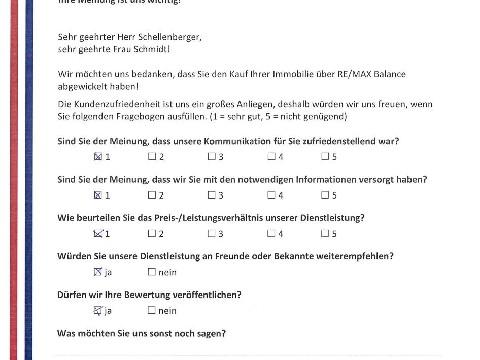 Leistungsbeurteilung - Fragebogen von Herrn Schellenberger und Frau Schmidt, 01.02.2017