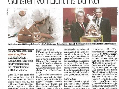 Lebkuchen Häuschen zu Gunsten von Licht ins Dunkel, Datum: 11.11.2014